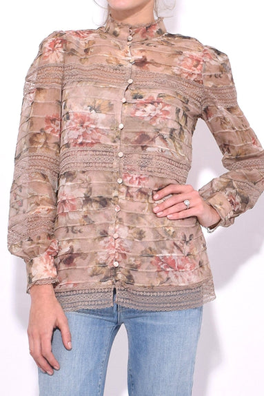 Fleeting Pintuck Blouse in Dusk Romantic Floral