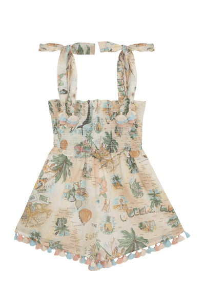 Kids Kirra Shirred Playsuit in Queensland Print