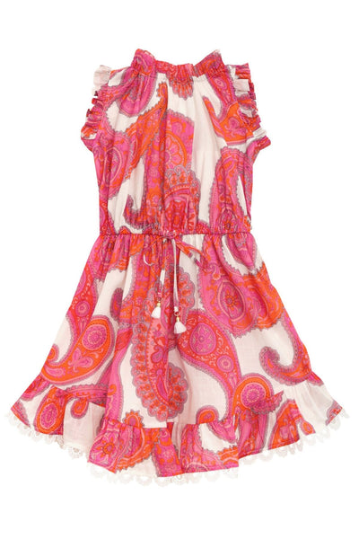 Kids Peggy Frill Neck Dress in Magenta Ivory Paisley