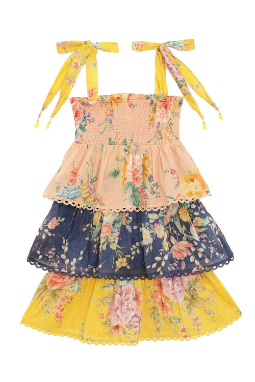 Kids Zinnia Shirred Tiered Dress in Spliced