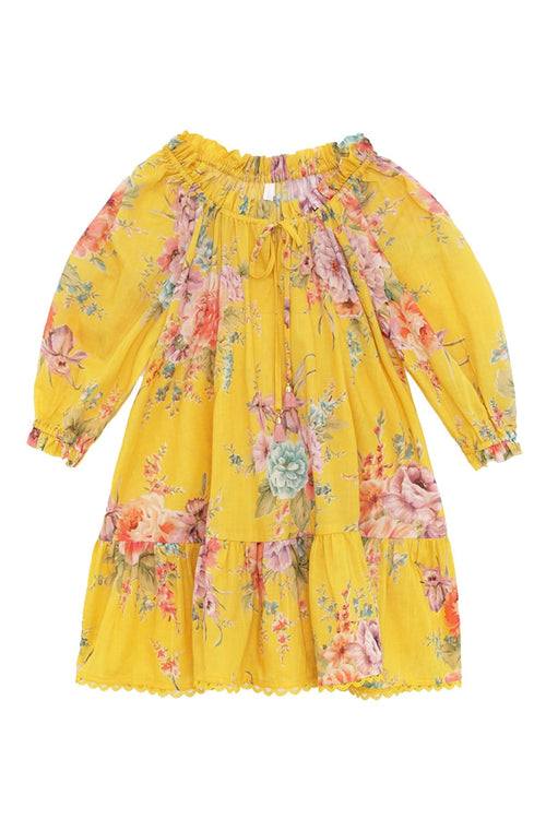 Kids Zinnia Smock Dress in Golden Floral