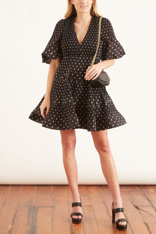 Pleated Long Sleeve Mini Dress in Black/Pearl Dot