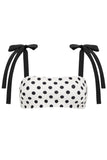 Sculpt Tie Bandeau Bikini Top in Ivory/Black Dot