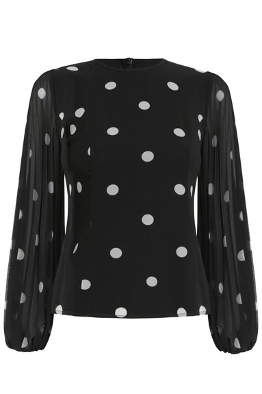 Sunray Body Top in Black/Pearl Dot