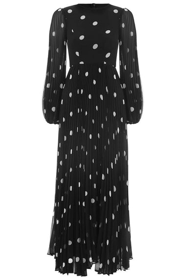 Sunray Dress in Black/Pearl Dot