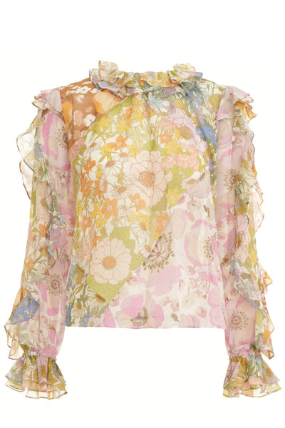 Super Eight Ruffle Shirt in Mixed Floral