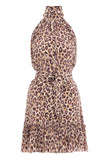 Super Eight Silk Swing Mini Dress in Caramel Leopard