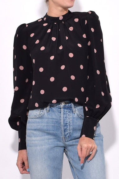 Unbridled Polo Blouse in Black/Rose Dot