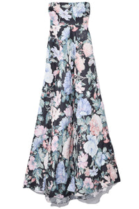 Verity Strapless Long Dress in Black Floral