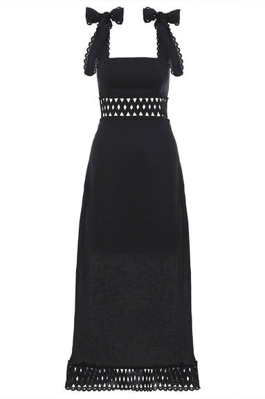 Verity Woven Picnic Dress in Black