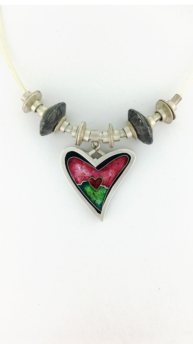 Cloisonne Heart Necklace