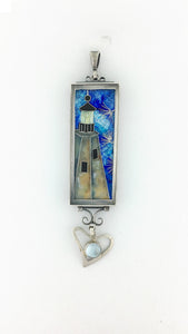 Baldhead Lighthouse Enamel Pendant