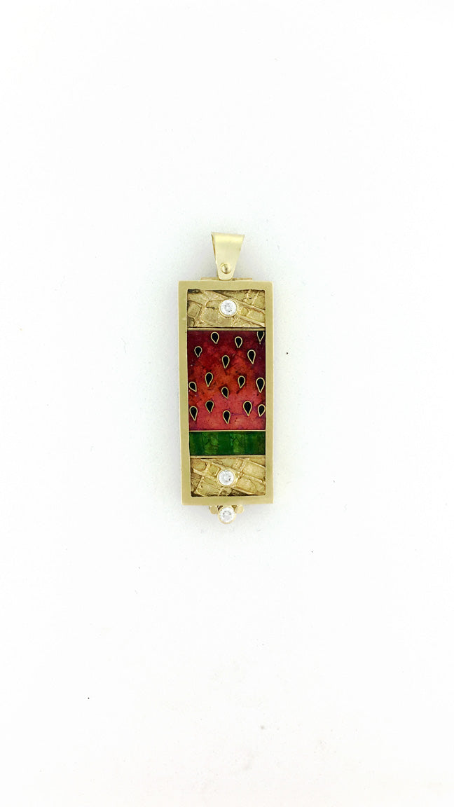 Strawberries and Diamonds Cloisonne Pendant
