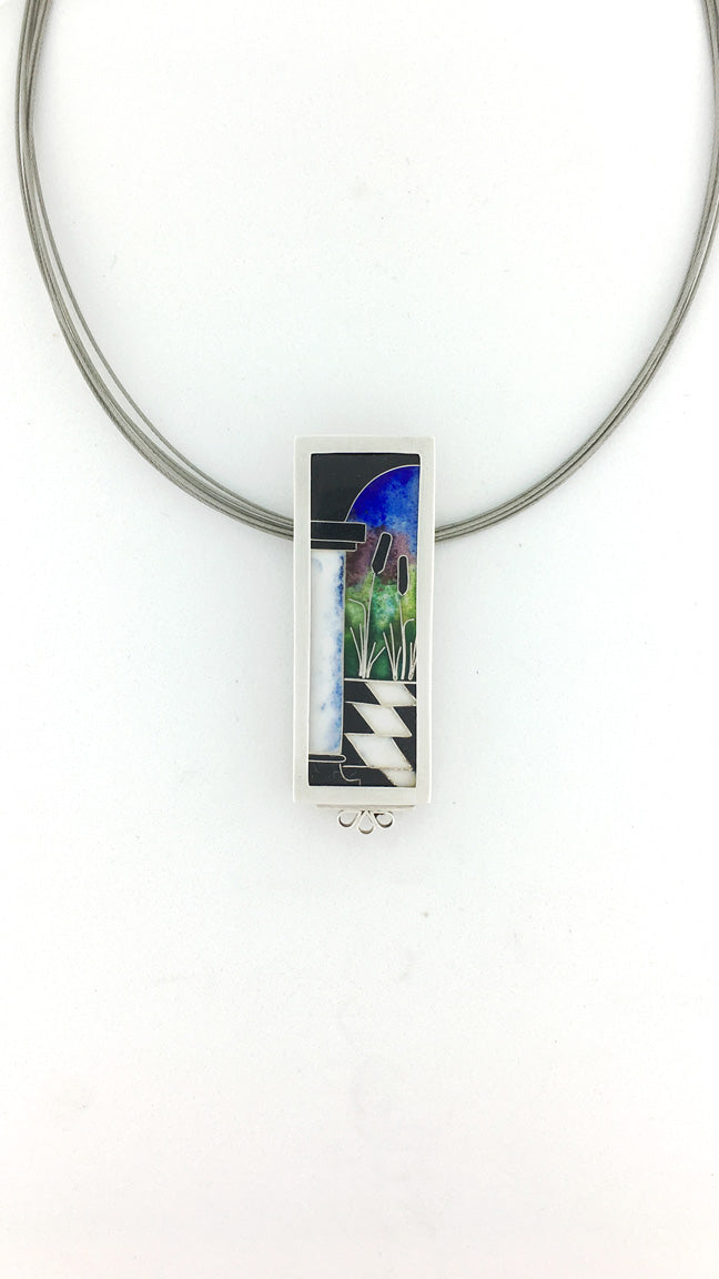 Cattails Cloisonne Necklace