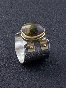 Fire Agate Double Strap Ring
