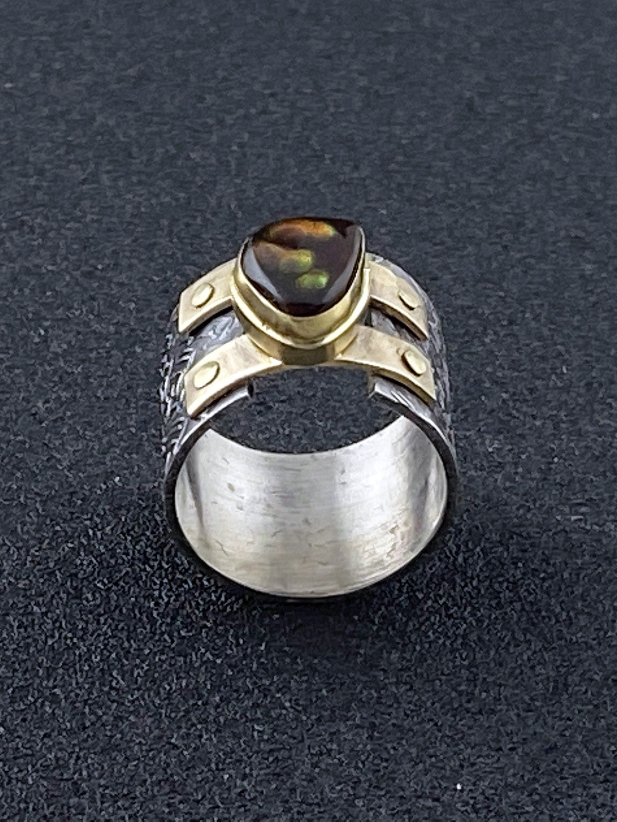 Freeform Fire Agate Double Strap Ring