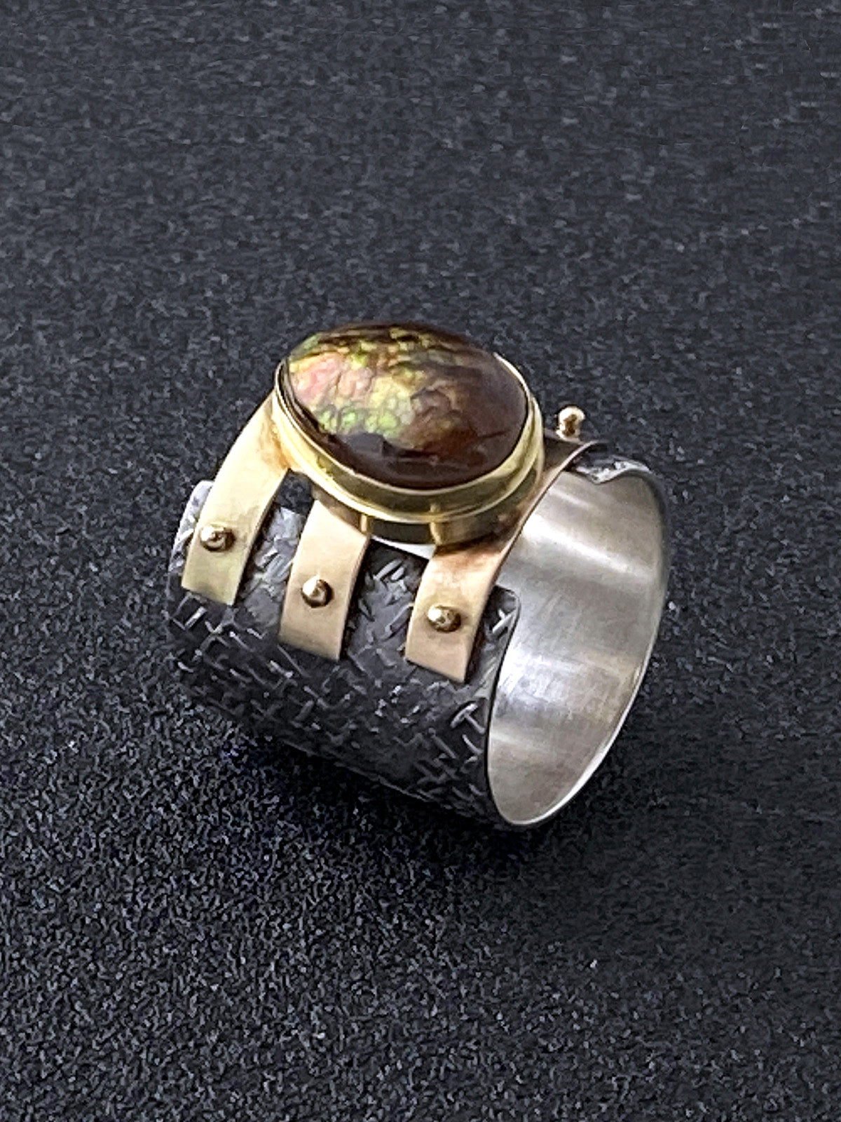 Teardrop Fire Agate Triple Strap Ring