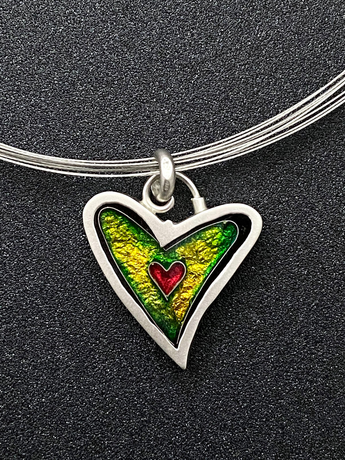 Hearts - Electric Green Heart Pendant