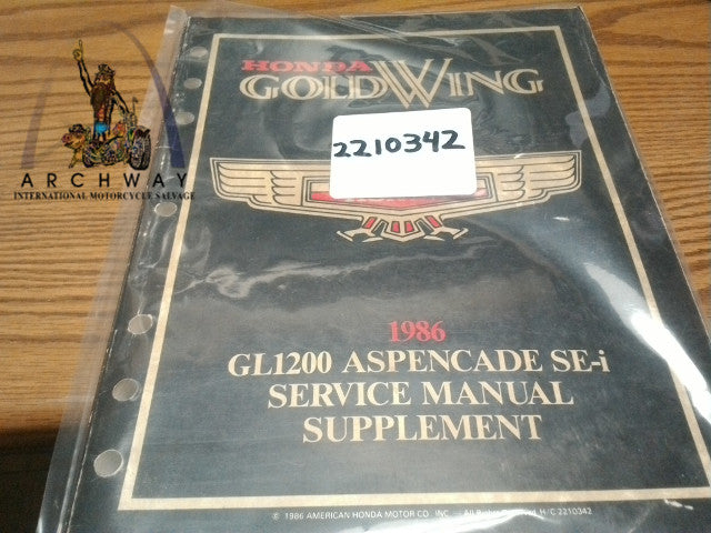 USED 1986 HONDA GOLDWING GL1200 ASPENCADE SUPPLEMENT SERVICE MANUAL # 2210342