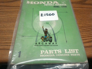 USED HONDA Portable Generator E1500  PARTS LIST MANUAL