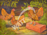 Golden Sebright Bantams Heritage Poultry Painting Canvas Print