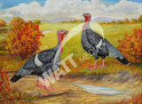 Narragansett Turkeys Heritage Poultry Painting Canvas Print