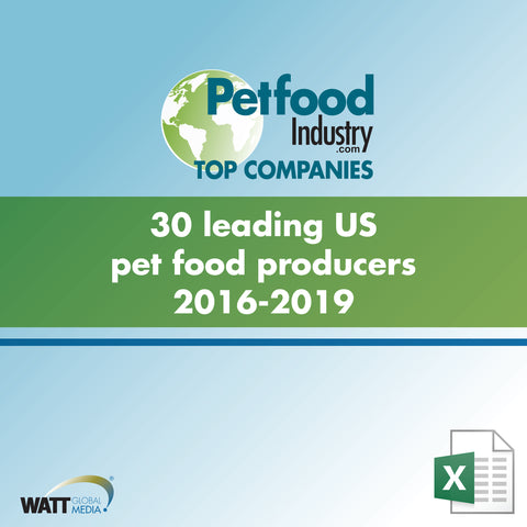 30 leading US pet food producers 2016-2019