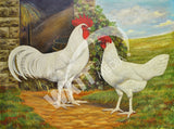 Single Comb White Minorcas Heritage Poultry Painting Canvas Print