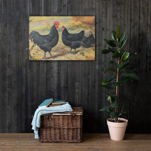 Black Jersey Giants - 1945 Heritage Poultry Painting Canvas Print