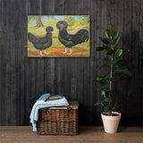 Mottled Houdans Heritage Poultry Painting Canvas Print