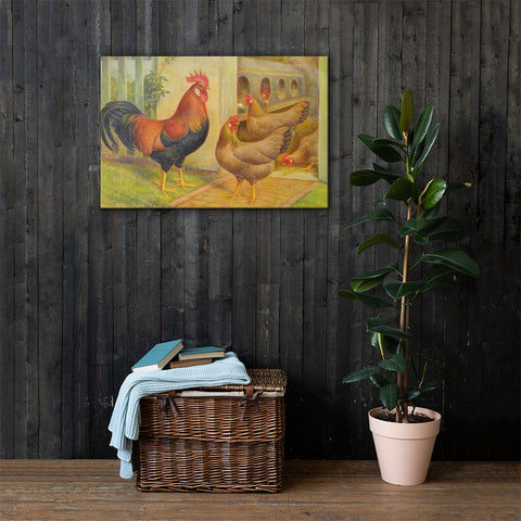 Single Comb Brown Leghorns Heritage Poultry Breed Canvas Print