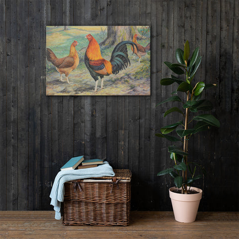 Old English Game Heritage Poultry Painting Canvas Print