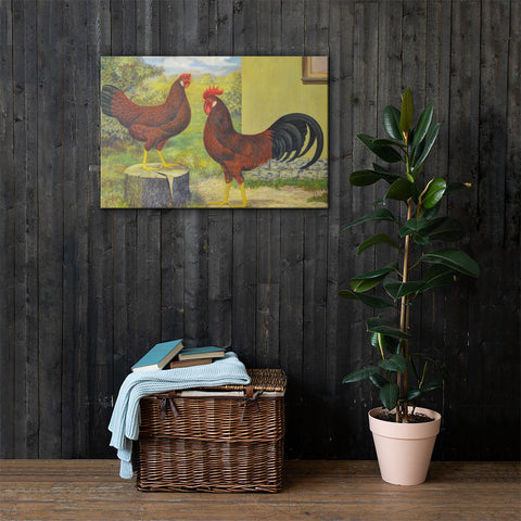 Black Tailed Red Leghorns Heritage Poultry Painting Canvas Print