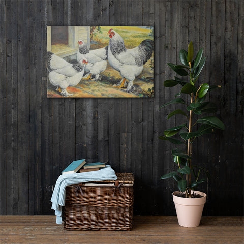 Light Brahmas Heritage Poultry Painting Canvas Print