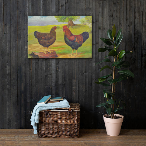 Partridge Plymouth Rocks Heritage Poultry Painting Canvas Print