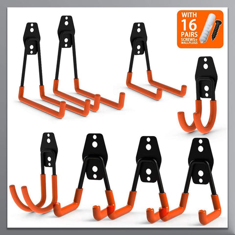 Steel Garage Storage Utility Double Hooks - coolyeah-garage-organization