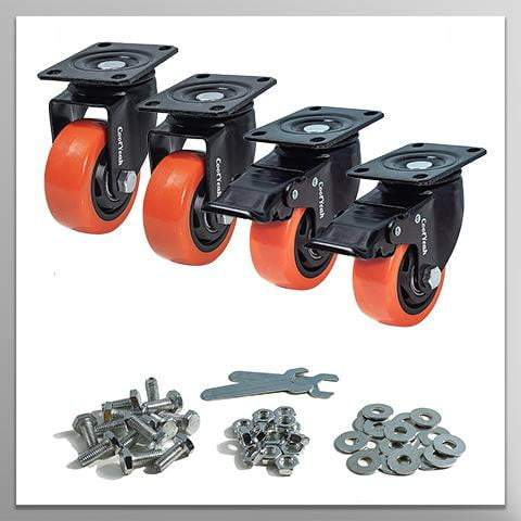 Pack of 4, 2 with Brake /& 2 Without Premium Heavy Duty Casters Industrial CoolYeah 4 inch Swivel Plate PVC Caster Wheels