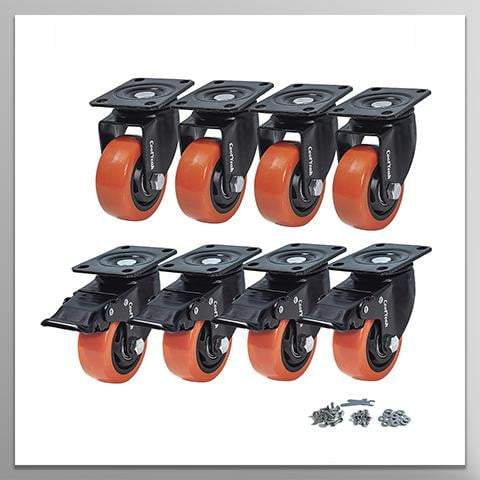 CoolYeah 3 inch Swivel Plate Caster PVC Wheels, Industrial, Premium Heavy Duty Casters (Pack of 8, 4 with Brake & 4 Without) - coolyeah-garage-organization