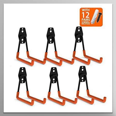 Steel Garage Storage Utility Double Hooks, Heavy Duty for Organizing Power Tools,Large U Hooks (pack of 6, 5 × 5 × 4.1 inches) - coolyeah-garage-organization