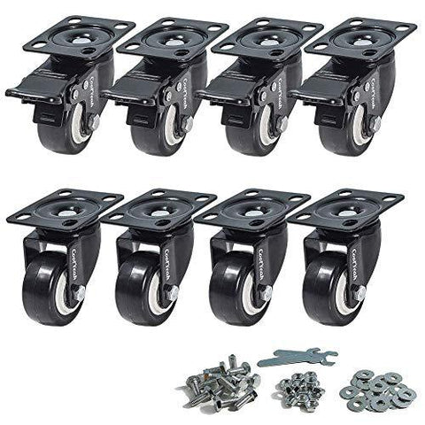 CoolYeah 2 inch Swivel Plate PVC Caster Wheels, Premium Casters (Pack of 8, 4 with Brake & 4 Without) CoolYeah Garage organization & Caster wheels