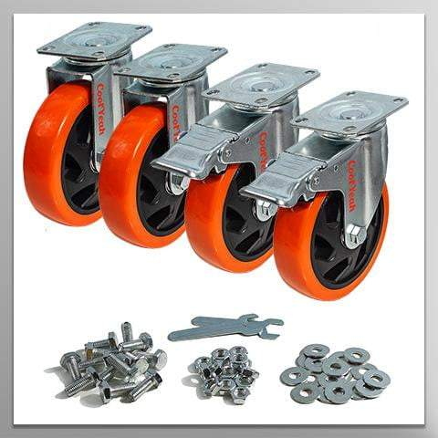 CoolYeah 5 inch Swivel Plate Caster PVC Wheels, Industrial, Premium Heavy Duty Casters (Pack of 4, 2 with Brake & 2 Without) - coolyeah-garage-organization