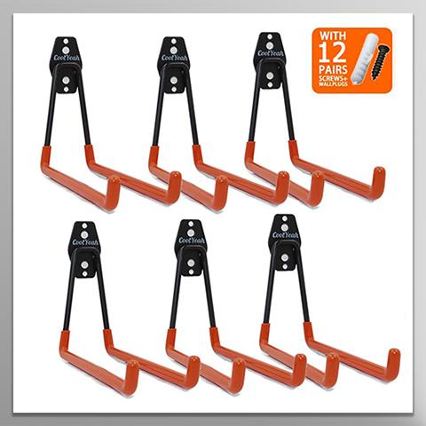 Steel Garage Storage Long U Hooks (Pack of 6) CoolYeah Garage-organization
