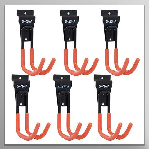 Slatwall Hooks Heavy Duty, Garage Storage Utility Double Hooks For Organizing Power Tools, Shotguns, Rifles, Large J Hooks (pack of 6, 5.5 × 3.1 × 4.2 inches) CoolYeah Garage organization