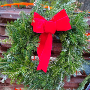 "Fresh 22"" Fir Wreath With Red Bow"