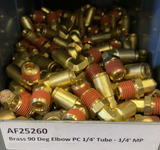 "AF25260 : Brass Air 90 Degree Elbow PC 1/4"" Tube - 1/4"" MP (Swivel)"