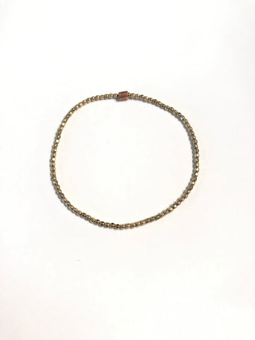 2mm Faceted 14k Gold Filled Bead Bracelet