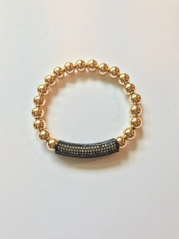 8mm Smooth 14k Gold Filled Bead Braclet with Pave Crystal Bar