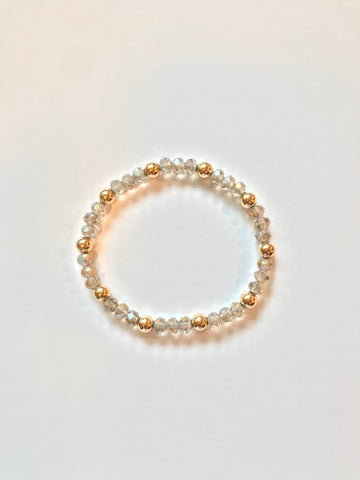 Crystal Bead Bracelet w/ 6mm Gold Filled Bead Accent
