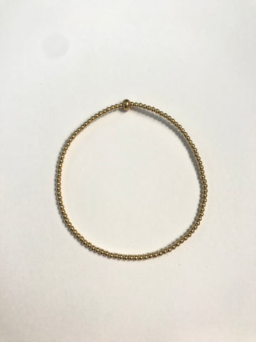 2mm 14k Gold Filled Classic Bead Bracelet