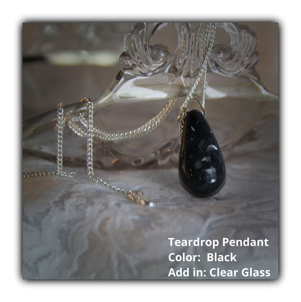 Resin Teardrop Pendant with Cremains - Pendant - spiritsoultreasures - spiritsoultreasures